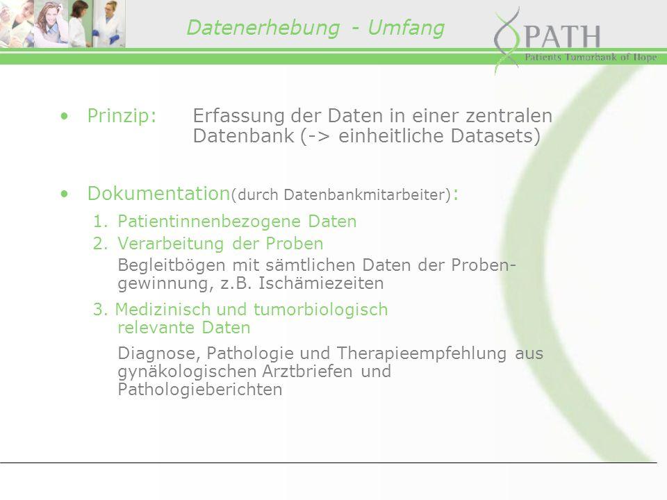 Datenerhebung - Umfang Prinzip:Erfassung der Daten in einer zentralen Datenbank (-> einheitliche Datasets) Dokumentation (durch Datenbankmitarbeiter) : 1.Patientinnenbezogene Daten 2.Verarbeitung der Proben Begleitbögen mit sämtlichen Daten der Proben- gewinnung, z.B.