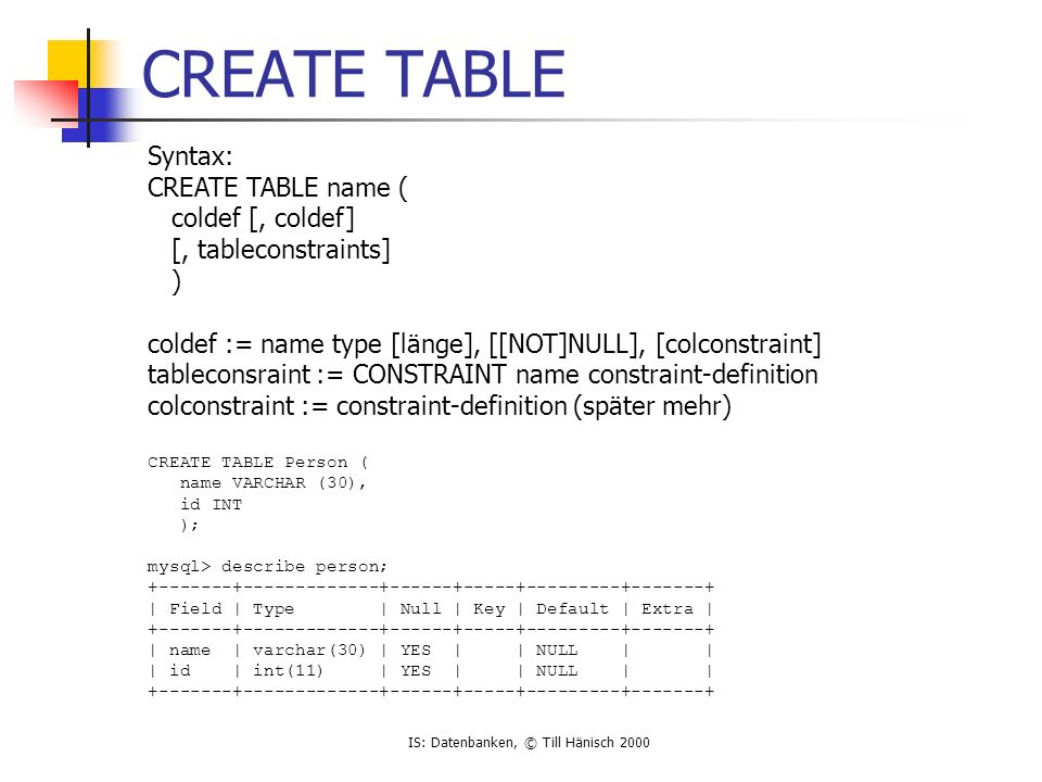 IS: Datenbanken, © Till Hänisch 2000 CREATE TABLE Syntax: CREATE TABLE name ( coldef [, coldef] [, tableconstraints] ) coldef := name type [länge], [[NOT]NULL], [colconstraint] tableconsraint := CONSTRAINT name constraint-definition colconstraint := constraint-definition (später mehr) CREATE TABLE Person ( name VARCHAR (30), id INT ); mysql> describe person; +-------+-------------+------+-----+---------+-------+ | Field | Type | Null | Key | Default | Extra | +-------+-------------+------+-----+---------+-------+ | name | varchar(30) | YES | | NULL | | | id | int(11) | YES | | NULL | | +-------+-------------+------+-----+---------+-------+