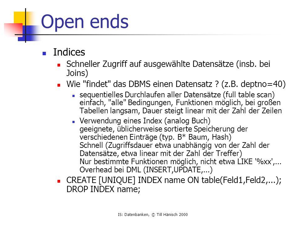 IS: Datenbanken, © Till Hänisch 2000 Open ends Indices Schneller Zugriff auf ausgewählte Datensätze (insb.