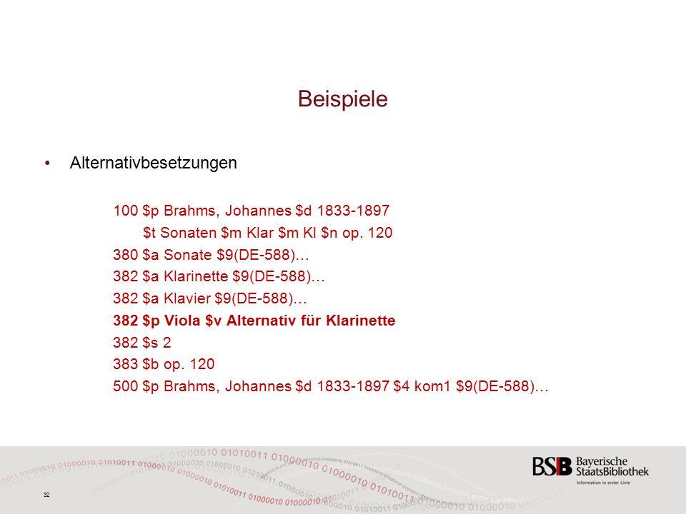 32 Beispiele Alternativbesetzungen 100 $p Brahms, Johannes $d 1833-1897 $t Sonaten $m Klar $m Kl $n op.