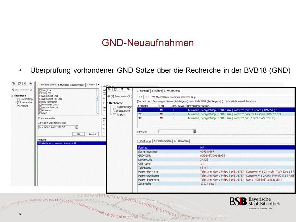 43 GND-Neuaufnahmen Überprüfung vorhandener GND-Sätze über die Recherche in der BVB18 (GND)