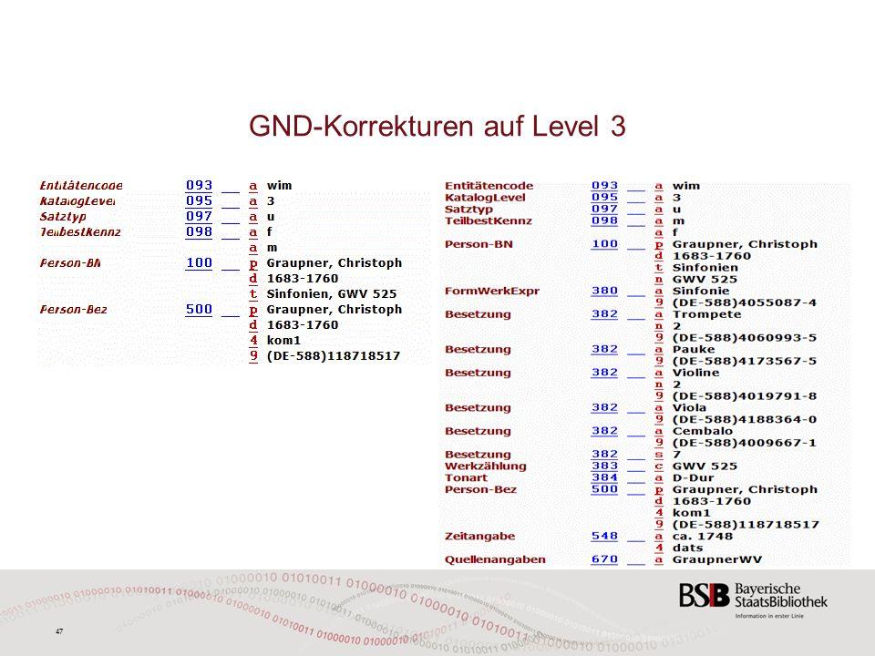 47 GND-Korrekturen auf Level 3