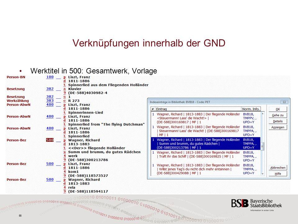 55 Verknüpfungen innerhalb der GND Werktitel in 500: Gesamtwerk, Vorlage