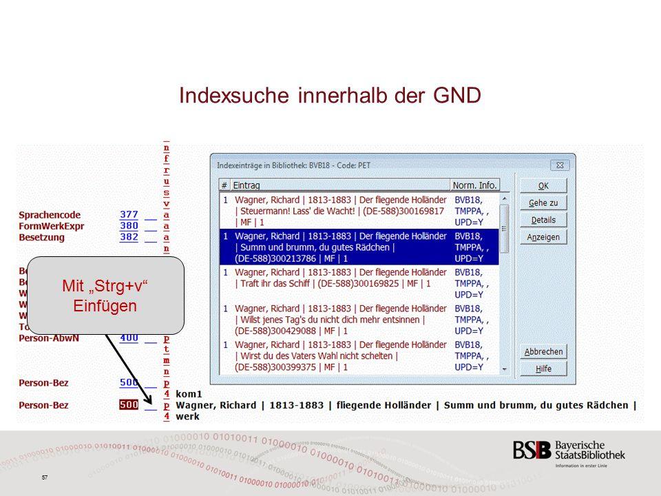 """57 Indexsuche innerhalb der GND Mit """"Strg+v Einfügen"""