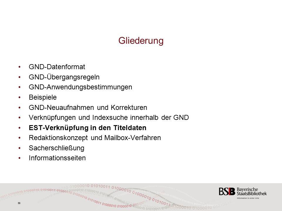 58 GND-Datenformat GND-Übergangsregeln GND-Anwendungsbestimmungen Beispiele GND-Neuaufnahmen und Korrekturen Verknüpfungen und Indexsuche innerhalb der GND EST-Verknüpfung in den Titeldaten Redaktionskonzept und Mailbox-Verfahren Sacherschließung Informationsseiten Gliederung