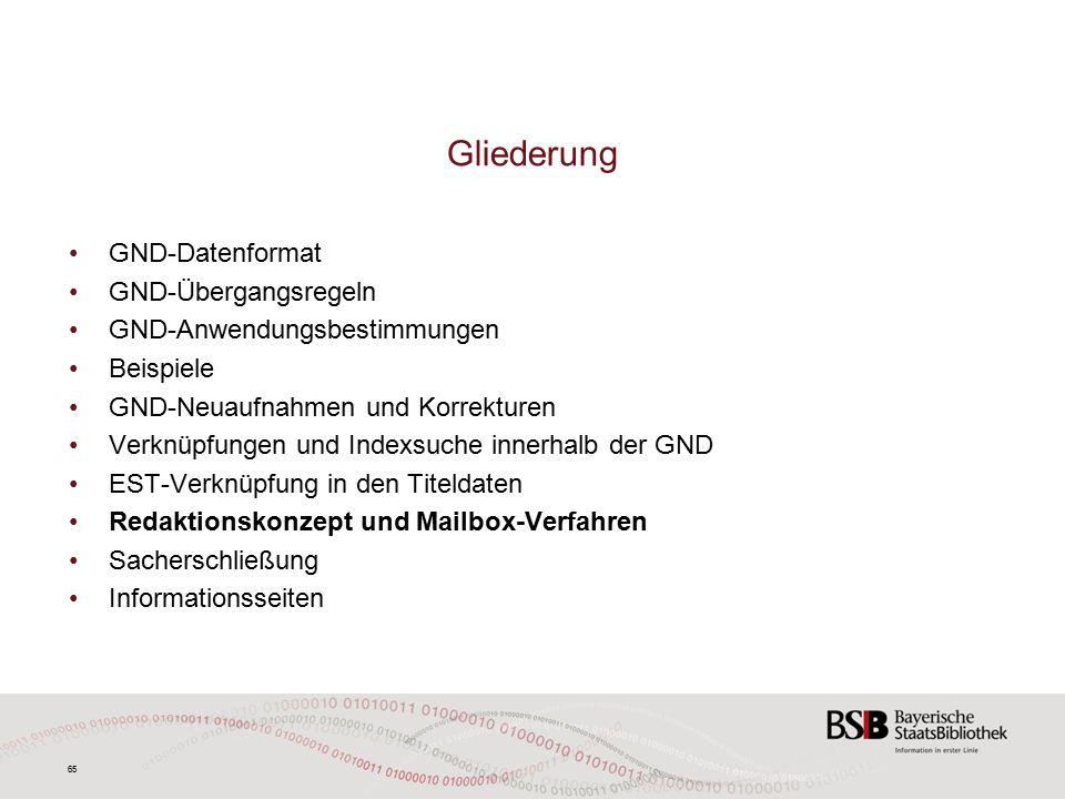 65 GND-Datenformat GND-Übergangsregeln GND-Anwendungsbestimmungen Beispiele GND-Neuaufnahmen und Korrekturen Verknüpfungen und Indexsuche innerhalb der GND EST-Verknüpfung in den Titeldaten Redaktionskonzept und Mailbox-Verfahren Sacherschließung Informationsseiten Gliederung