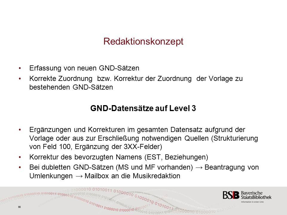 66 Redaktionskonzept Erfassung von neuen GND-Sätzen Korrekte Zuordnung bzw.