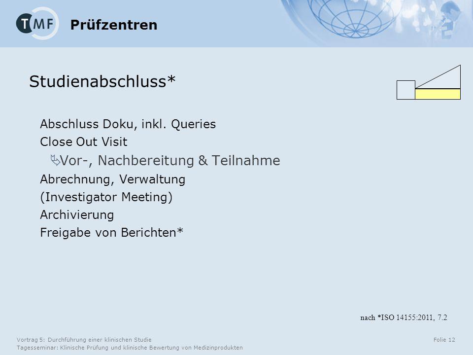 Vortrag 5: Durchführung einer klinischen Studie Tagesseminar: Klinische Prüfung und klinische Bewertung von Medizinprodukten Folie 12 Prüfzentren Abschluss Doku, inkl.