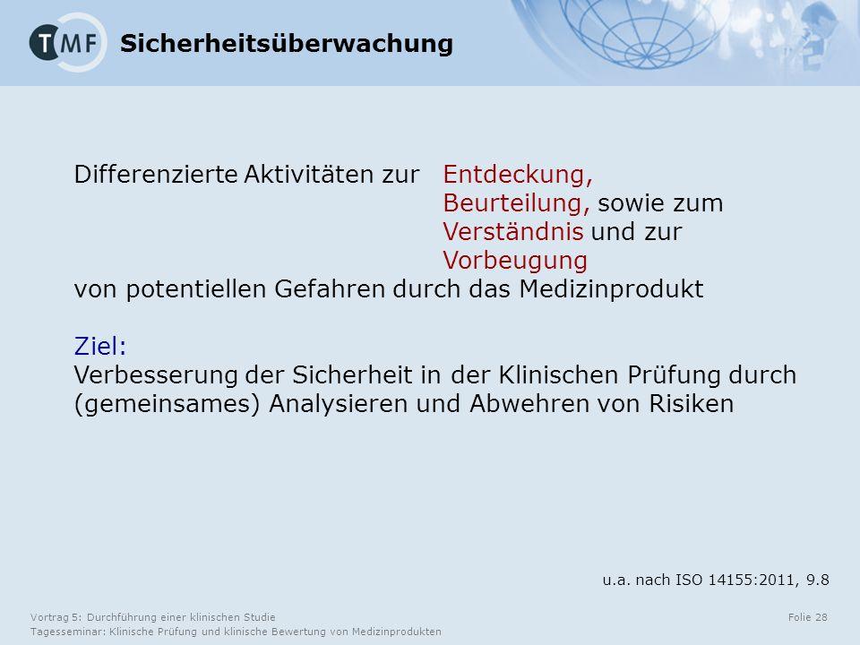 Vortrag 5: Durchführung einer klinischen Studie Tagesseminar: Klinische Prüfung und klinische Bewertung von Medizinprodukten Folie 28 Differenzierte Aktivitäten zur Entdeckung, Beurteilung, sowie zum Verständnis und zur Vorbeugung von potentiellen Gefahren durch das Medizinprodukt Ziel: Verbesserung der Sicherheit in der Klinischen Prüfung durch (gemeinsames) Analysieren und Abwehren von Risiken Sicherheitsüberwachung u.a.
