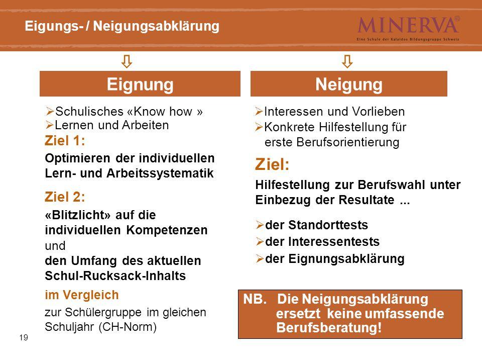 19 Eigungs- / Neigungsabklärung  EignungNeigung NB.