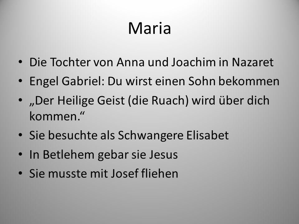 """Maria Die Tochter von Anna und Joachim in Nazaret Engel Gabriel: Du wirst einen Sohn bekommen """"Der Heilige Geist (die Ruach) wird über dich kommen. Sie besuchte als Schwangere Elisabet In Betlehem gebar sie Jesus Sie musste mit Josef fliehen"""