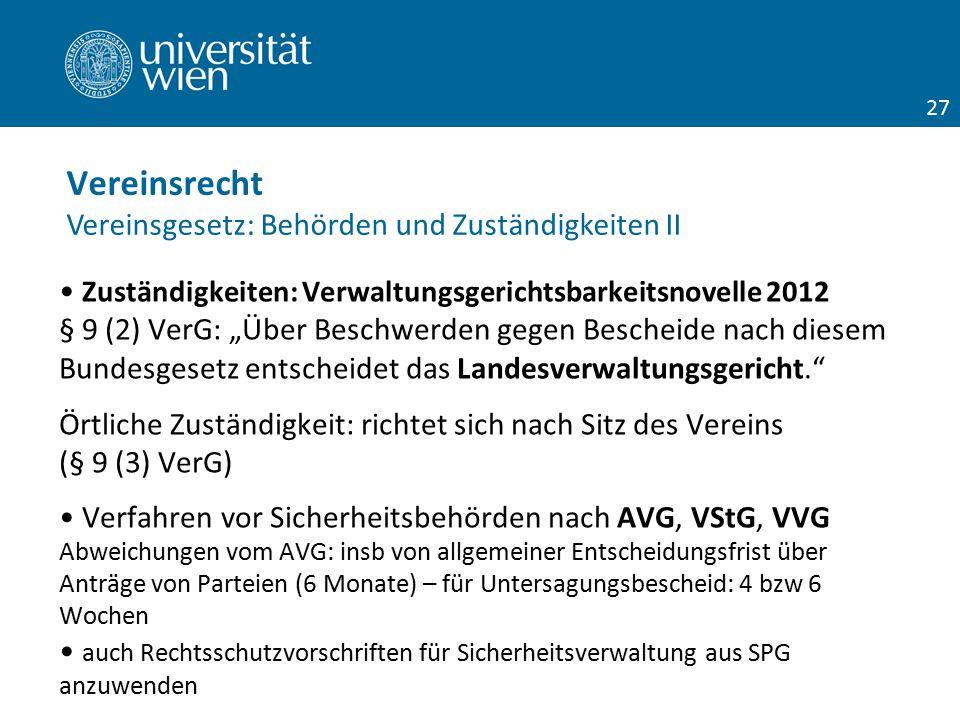 """Zuständigkeiten: Verwaltungsgerichtsbarkeitsnovelle 2012 § 9 (2) VerG: """"Über Beschwerden gegen Bescheide nach diesem Bundesgesetz entscheidet das Land"""