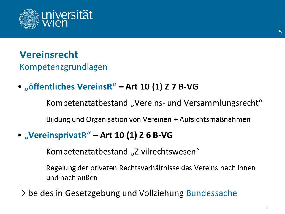 """""""öffentliches VereinsR"""" – Art 10 (1) Z 7 B-VG Kompetenztatbestand """"Vereins- und Versammlungsrecht"""" Bildung und Organisation von Vereinen + Aufsichtsma"""