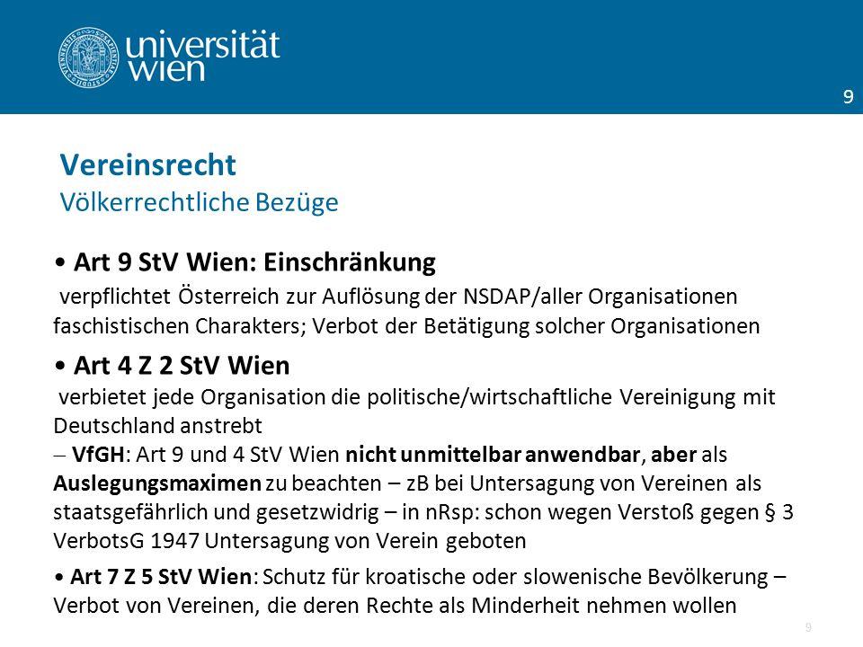 Art 9 StV Wien: Einschränkung verpflichtet Österreich zur Auflösung der NSDAP/aller Organisationen faschistischen Charakters; Verbot der Betätigung so