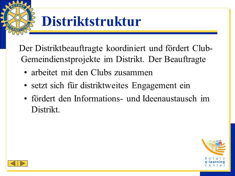 Distriktstruktur Der Distriktbeauftragte koordiniert und fördert Club- Gemeindienstprojekte im Distrikt.