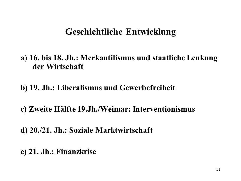 11 Geschichtliche Entwicklung a) 16. bis 18. Jh.: Merkantilismus und staatliche Lenkung der Wirtschaft b) 19. Jh.: Liberalismus und Gewerbefreiheit c)