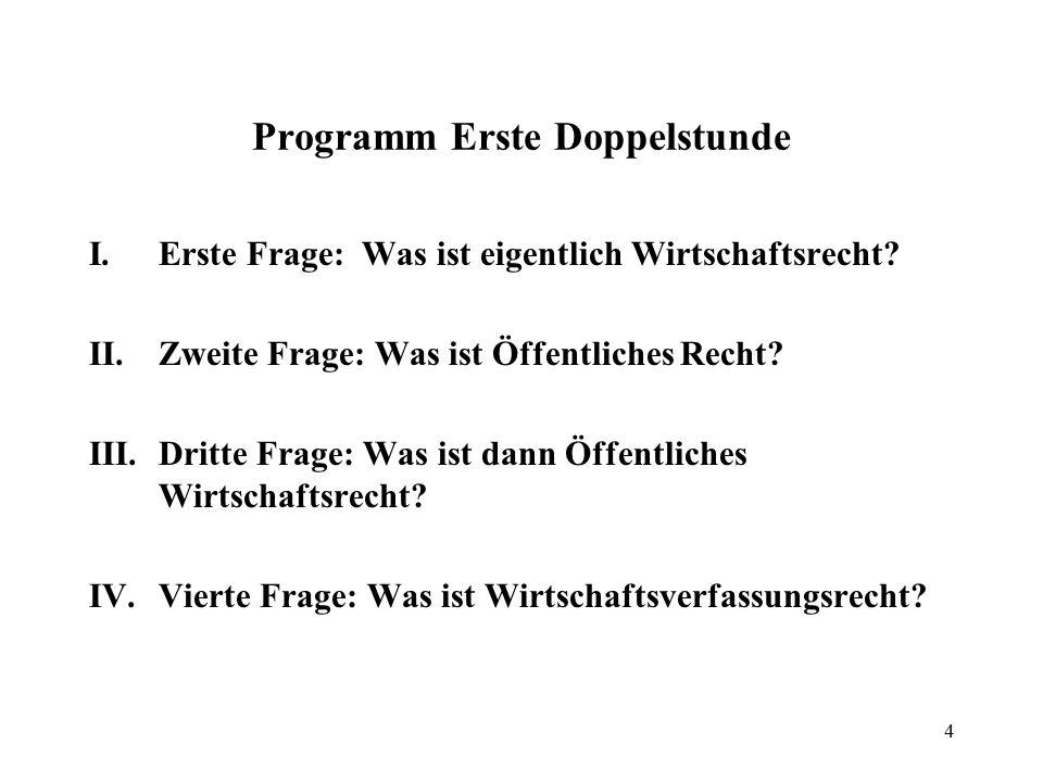 4 Programm Erste Doppelstunde I.Erste Frage: Was ist eigentlich Wirtschaftsrecht.