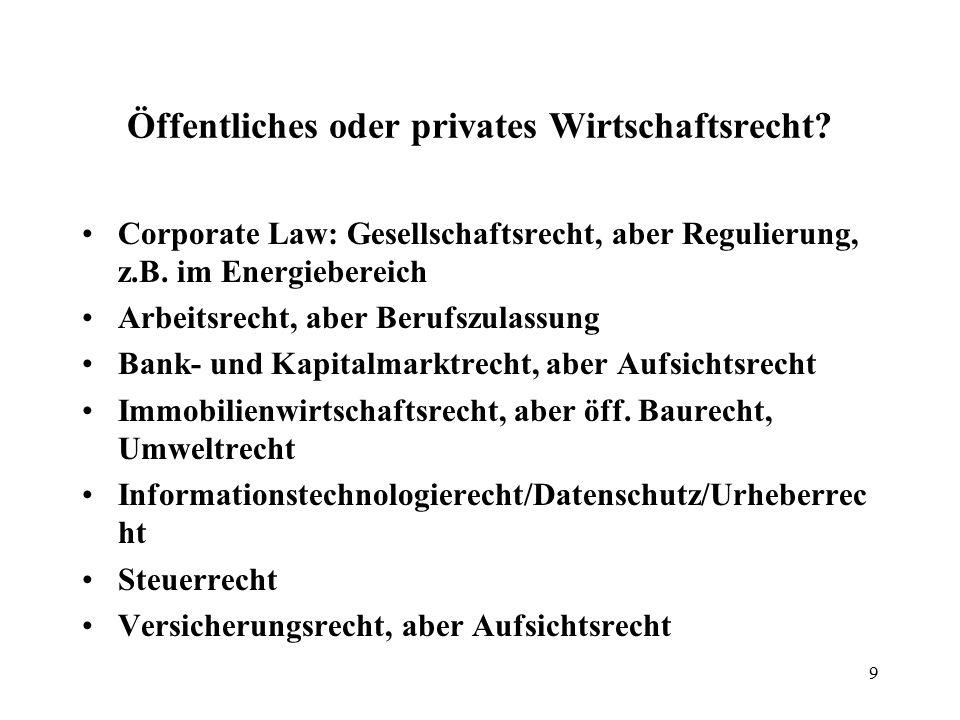 Öffentliches oder privates Wirtschaftsrecht? Corporate Law: Gesellschaftsrecht, aber Regulierung, z.B. im Energiebereich Arbeitsrecht, aber Berufszula