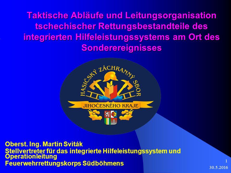 Taktische Abläufe und Leitungsorganisation tschechischer Rettungsbestandteile des integrierten Hilfeleistungssystems am Ort des Sonderereignisses Oberst.