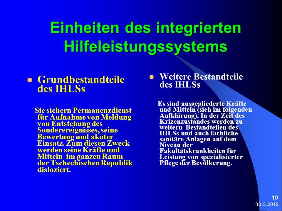 30.5.2016 10 Einheiten des integrierten Hilfeleistungssystems Grundbestandteile des IHLSs Sie sichern Permanenzdienst für Aufnahme von Meldung von Entstehung des Sonderereignisses, seine Bewertung und akuter Einsatz.