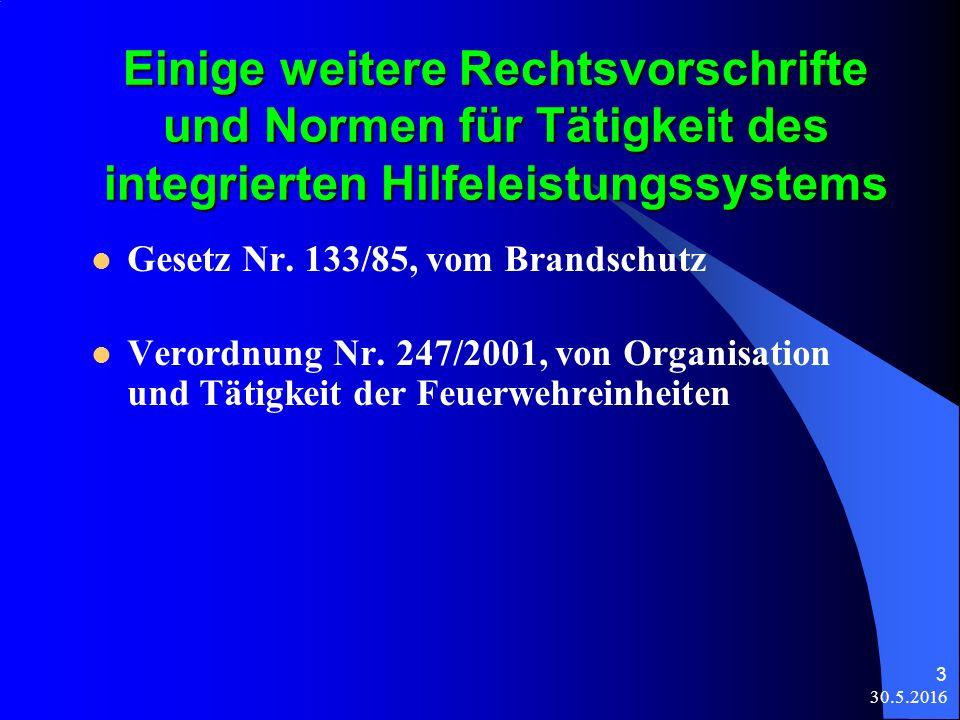 30.5.2016 3 Einige weitere Rechtsvorschrifte und Normen für Tätigkeit des integrierten Hilfeleistungssystems Gesetz Nr.
