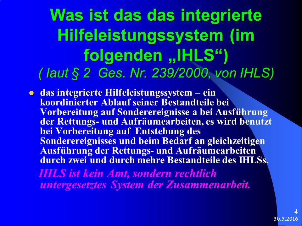 """30.5.2016 4 Was ist das das integrierte Hilfeleistungssystem (im folgenden """"IHLS ) ( laut § 2 Ges."""