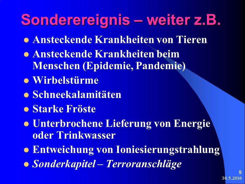 30.5.2016 9 Sonderereignis – weiter z.B.