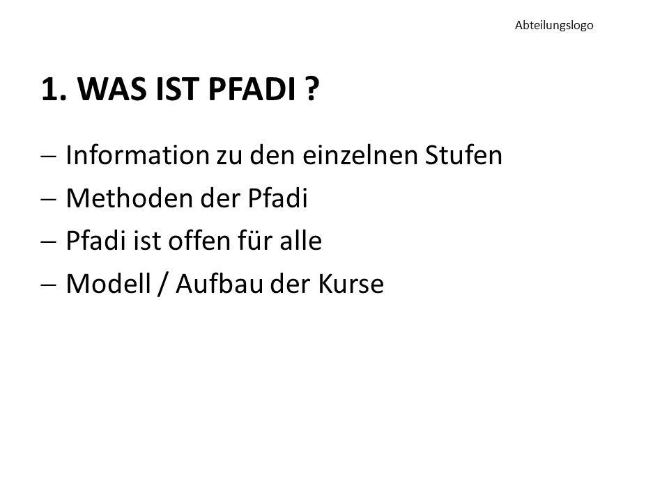 1. WAS IST PFADI ?  Information zu den einzelnen Stufen  Methoden der Pfadi  Pfadi ist offen für alle  Modell / Aufbau der Kurse Abteilungslogo