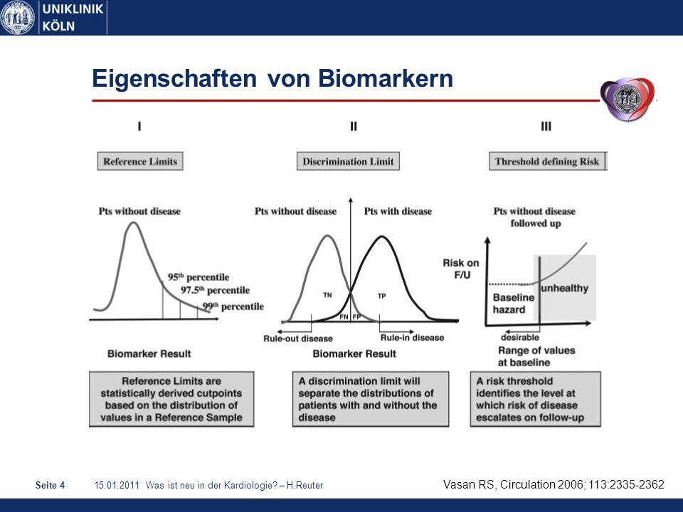15.01.2011 Was ist neu in der Kardiologie? – H.ReuterSeite 4 Eigenschaften von Biomarkern Vasan RS, Circulation 2006; 113:2335-2362