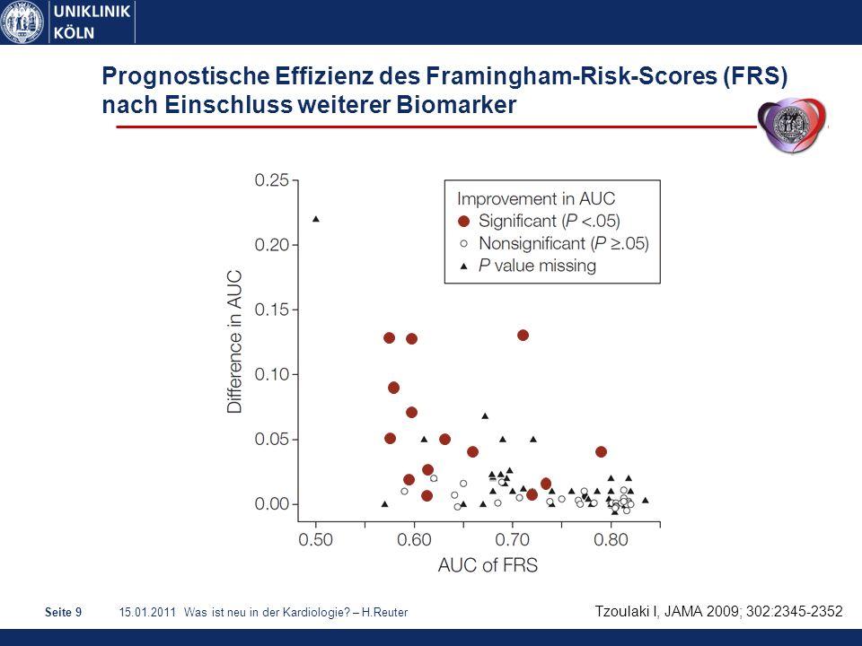 15.01.2011 Was ist neu in der Kardiologie? – H.ReuterSeite 9 Prognostische Effizienz des Framingham-Risk-Scores (FRS) nach Einschluss weiterer Biomark