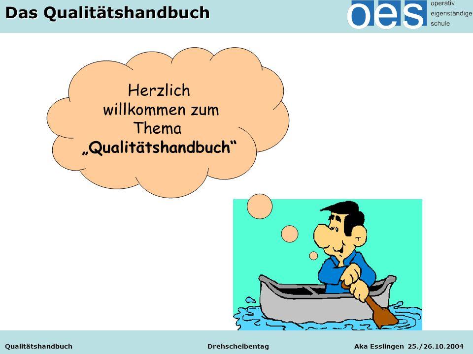 """Qualitätshandbuch Drehscheibentag Aka Esslingen 25./26.10.2004 Herzlich willkommen zum Thema """"Qualitätshandbuch Qualitätsentwicklung an Schulen Qualitätshandbuch Drehscheibentag Aka Esslingen 25./26.10.2004 Das Qualitätshandbuch"""