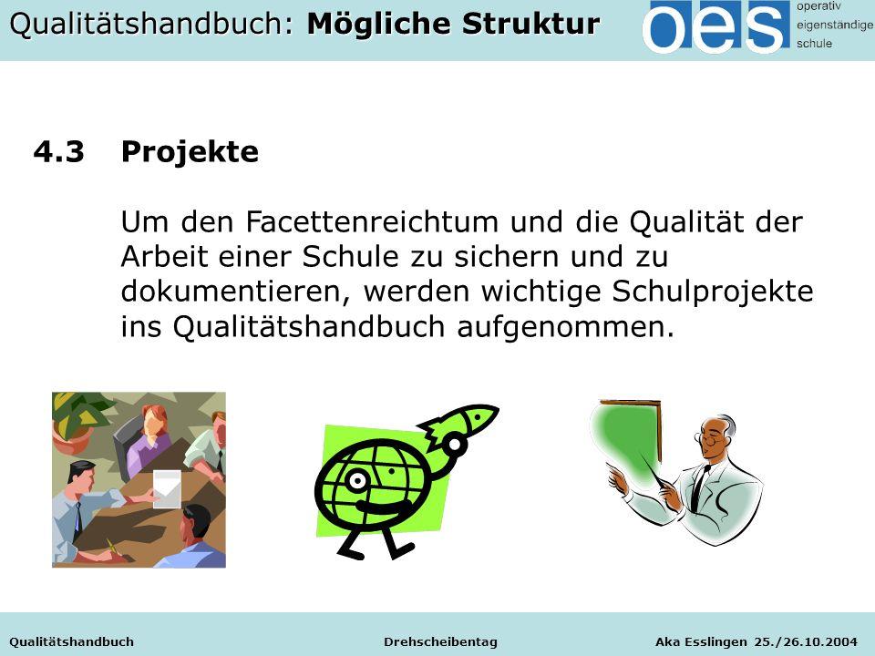 Qualitätshandbuch Drehscheibentag Aka Esslingen 25./26.10.2004 4.3Projekte Um den Facettenreichtum und die Qualität der Arbeit einer Schule zu sichern und zu dokumentieren, werden wichtige Schulprojekte ins Qualitätshandbuch aufgenommen.