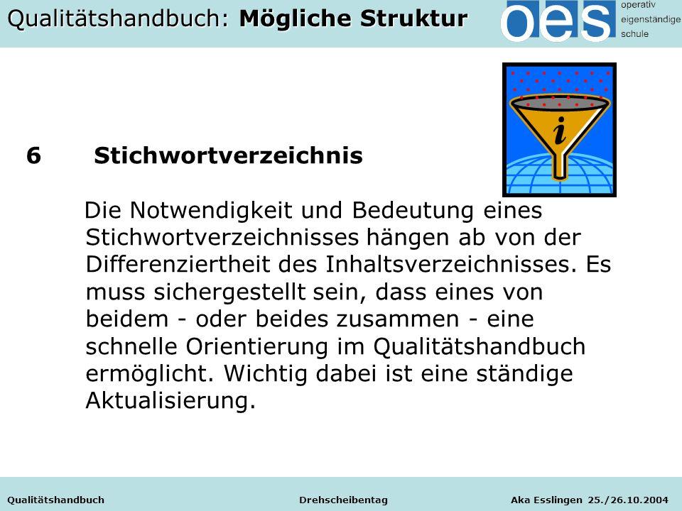 Qualitätshandbuch Drehscheibentag Aka Esslingen 25./26.10.2004 6 Stichwortverzeichnis Die Notwendigkeit und Bedeutung eines Stichwortverzeichnisses hängen ab von der Differenziertheit des Inhaltsverzeichnisses.