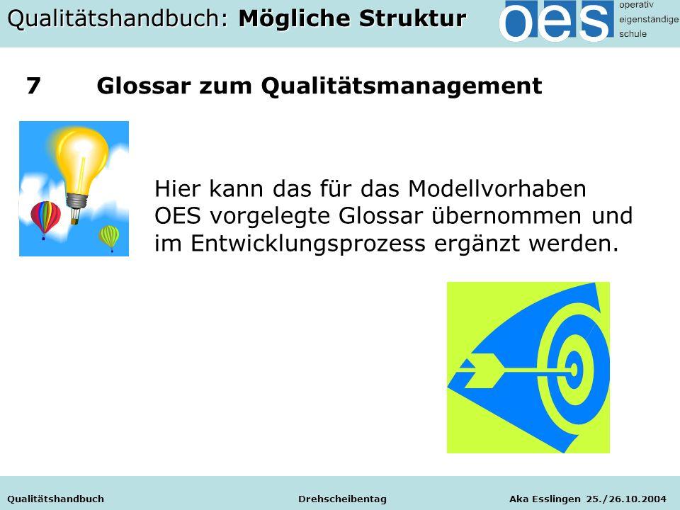 Qualitätshandbuch Drehscheibentag Aka Esslingen 25./26.10.2004 Hier kann das für das Modellvorhaben OES vorgelegte Glossar übernommen und im Entwicklungsprozess ergänzt werden.
