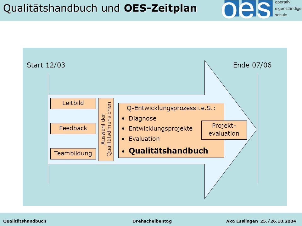Start 12/03 Ende 07/06 Leitbild Feedback Teambildung Auswahl der Qualitätsdimensionen Q-Entwicklungsprozess i.e.S.: Diagnose Entwicklungsprojekte Eval