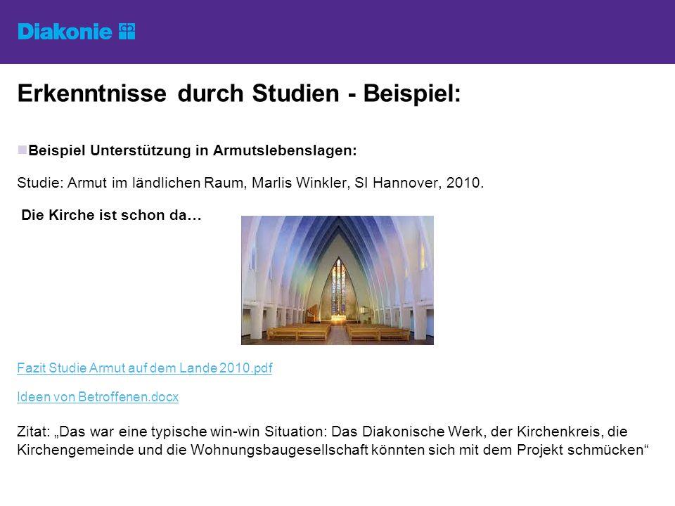 Erkenntnisse durch Studien - Beispiel: Beispiel Unterstützung in Armutslebenslagen: Studie: Armut im ländlichen Raum, Marlis Winkler, SI Hannover, 2010.