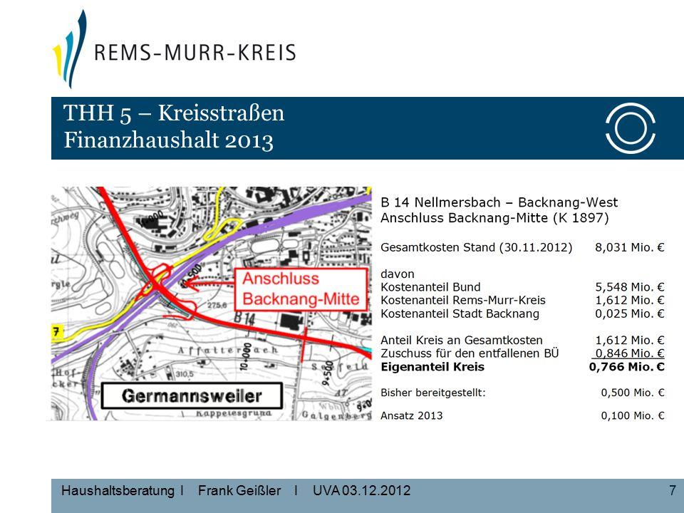 7 Haushaltsberatung I Frank Geißler I UVA 03.12.2012 THH 5 – Kreisstraßen Finanzhaushalt 2013
