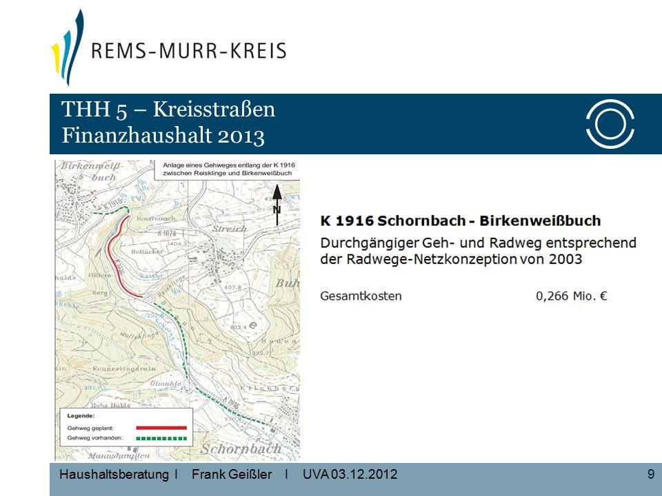 9 Haushaltsberatung I Frank Geißler I UVA 03.12.2012 THH 5 – Kreisstraßen Finanzhaushalt 2013