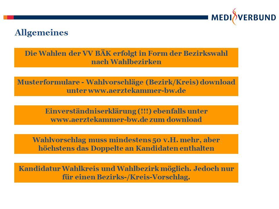 Termine Bezirksärztekammer Frist für die Einreichung von Wahlvorschlägen bis 08.10.2010 Wahlfrist – Aufforderung zur Stimmabgabe 22.11.