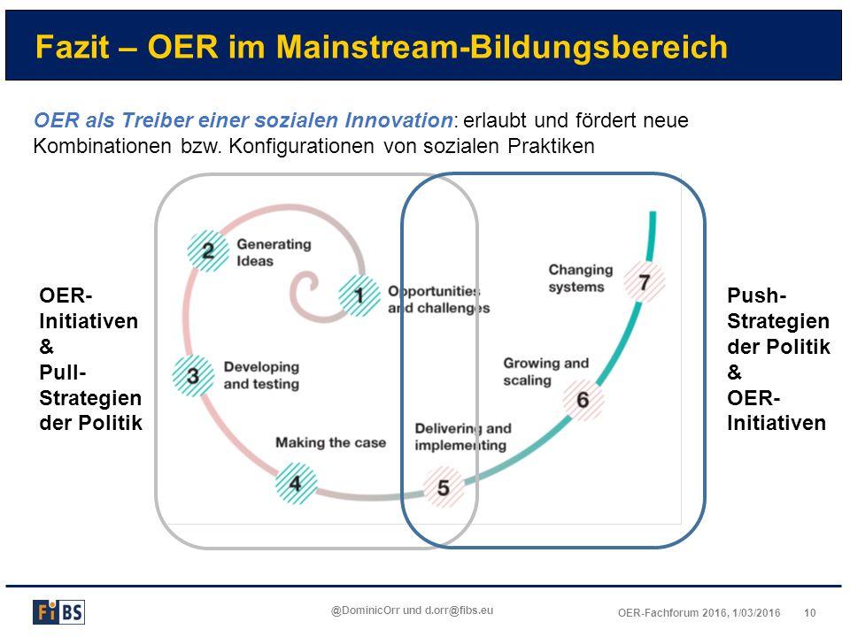 10OER-Fachforum 2016, 1/03/2016 @DominicOrr und d.orr@fibs.eu Fazit – OER im Mainstream-Bildungsbereich OER als Treiber einer sozialen Innovation: erl