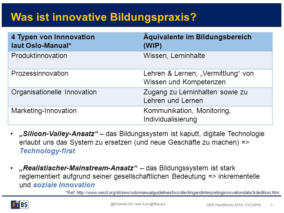 4OER-Fachforum 2016, 1/03/2016 @DominicOrr und d.orr@fibs.eu Soziale Innovation *Ref: Howaldt & Jacobsen, 2010.** Rüede & Lurtz 2012 Technology-first: Innovation (wird)...