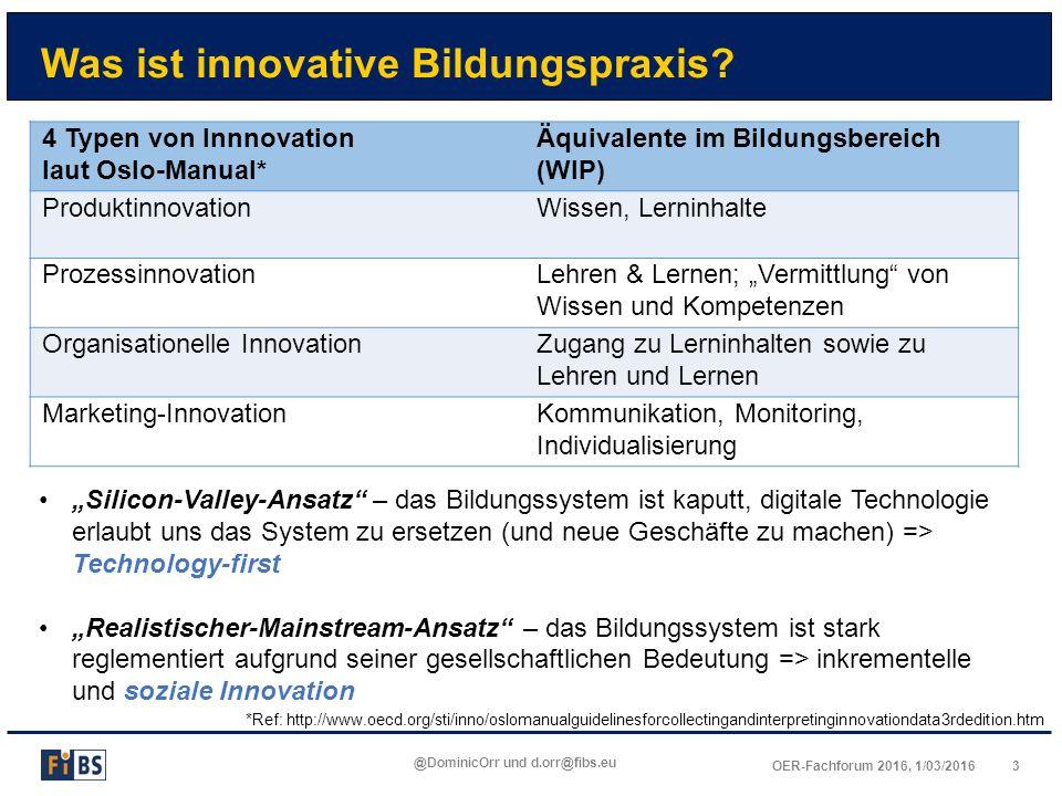 3OER-Fachforum 2016, 1/03/2016 @DominicOrr und d.orr@fibs.eu Was ist innovative Bildungspraxis? 4 Typen von Innnovation laut Oslo-Manual* Äquivalente