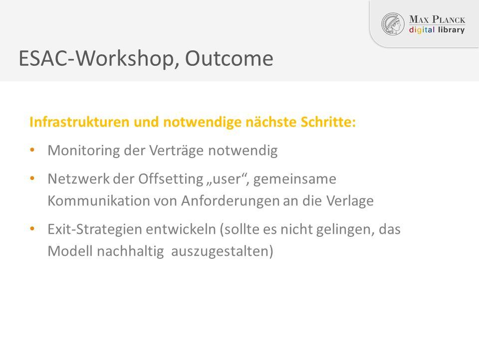 """ESAC-Workshop, Outcome Infrastrukturen und notwendige nächste Schritte: Monitoring der Verträge notwendig Netzwerk der Offsetting """"user , gemeinsame Kommunikation von Anforderungen an die Verlage Exit-Strategien entwickeln (sollte es nicht gelingen, das Modell nachhaltig auszugestalten)"""