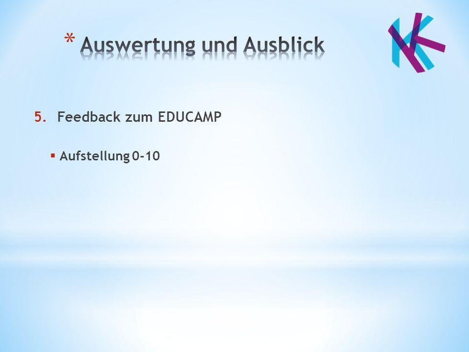 5.Feedback zum EDUCAMP  Aufstellung 0-10