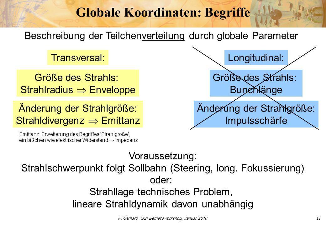 P. Gerhard, GSI Betriebsworkshop, Januar 201613 Globale Koordinaten: Begriffe Voraussetzung: Strahlschwerpunkt folgt Sollbahn (Steering, long. Fokussi