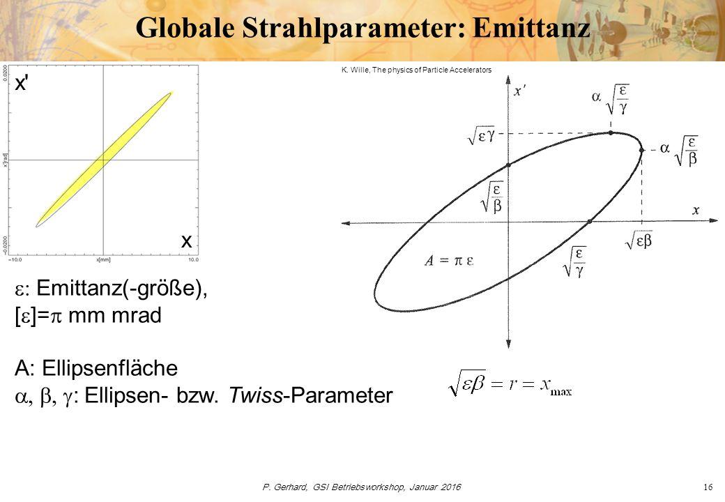 P. Gerhard, GSI Betriebsworkshop, Januar 201616 Globale Strahlparameter: Emittanz x' x  Emittanz(-größe), [  ]=  mm mrad A: Ellipsenfläche 