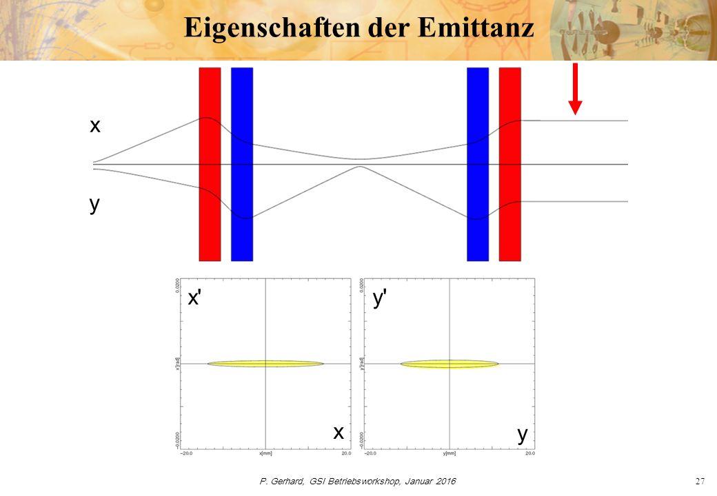 P. Gerhard, GSI Betriebsworkshop, Januar 201627 Eigenschaften der Emittanz y x x' x y y'