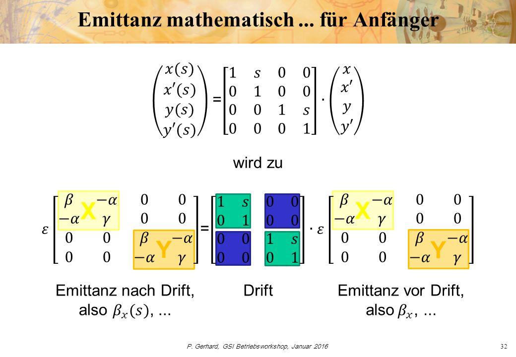 P. Gerhard, GSI Betriebsworkshop, Januar 201632 Emittanz mathematisch... für Anfänger Drift wird zu X X Y Y