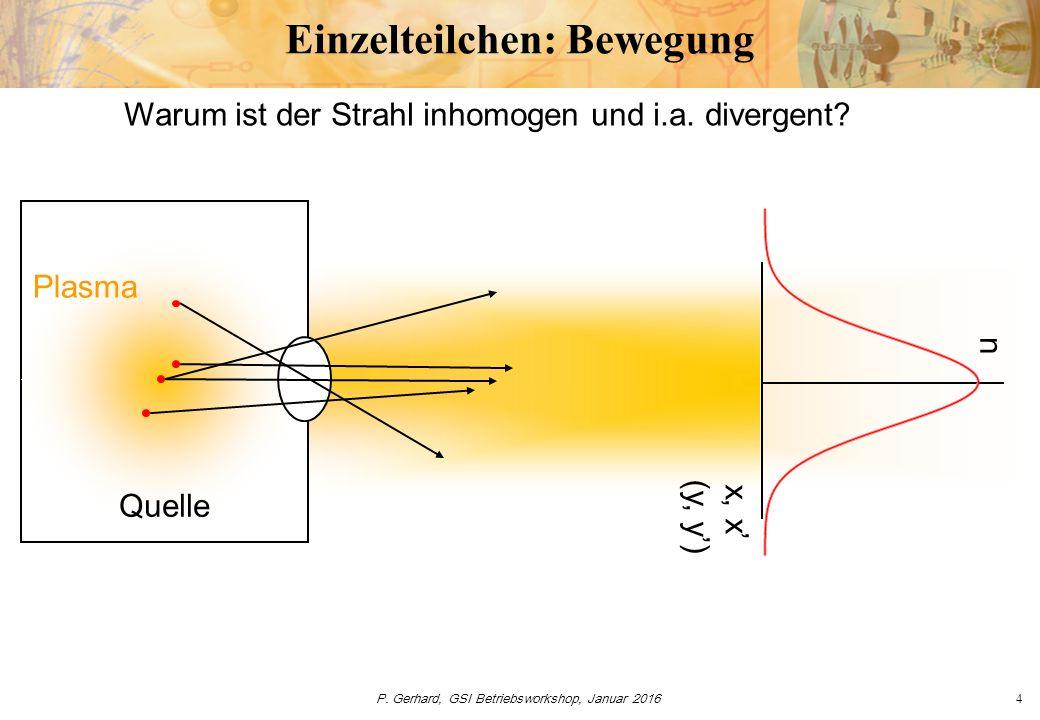 P. Gerhard, GSI Betriebsworkshop, Januar 20164 Einzelteilchen: Bewegung Quelle Plasma Warum ist der Strahl inhomogen und i.a. divergent? n x, x' (y, y