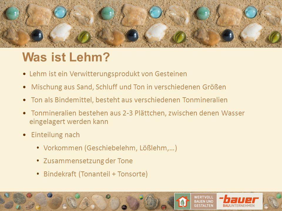Was ist Lehm? Lehm ist ein Verwitterungsprodukt von Gesteinen Mischung aus Sand, Schluff und Ton in verschiedenen Größen Ton als Bindemittel, besteht